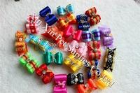 Wholesale 2014 New Dog Bows 50pcs/Lot  Mix Designs Rhinestones Dog hair bows Bright Color Pet Dog Hair Bows pet Grooming Product