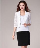 Promotion! Women Summer Three Quarter Sleeve women blazers and jackets,plus size Ol  Lace blazer S M L XL XXL