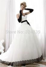 Hot Sale Black White Wedding dress Bridal gown Custom Size 4-6-8-10-12-14-16-18+(China (Mainland))