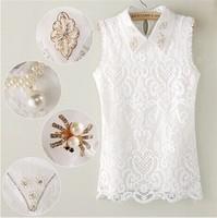 2015 New fashion Women's summer bud silk shirt  sleeveless beads White 090# free shipping
