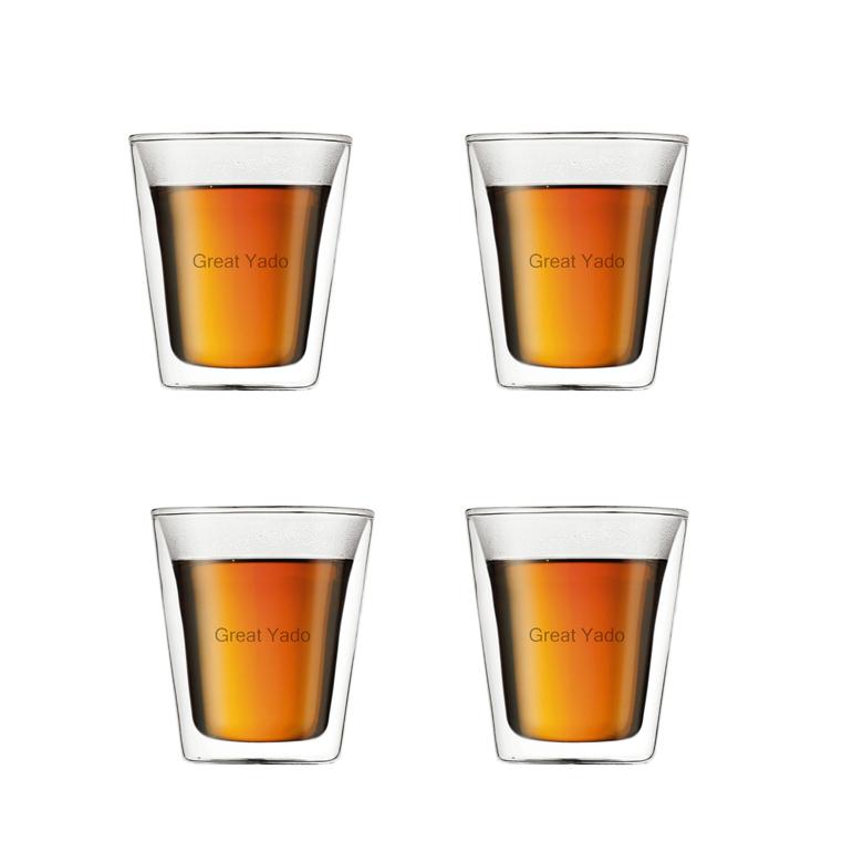 Set di 4 pz di alta qualità a doppia parete BODUM mensa tazza tazza in vetro per il tè/caffè espresso/vino 200ml spedizione gratuita