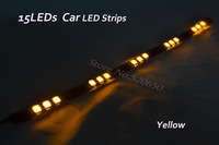 3xHot Sale 1ft 15LEDs Car Trucks Moto Grill Flexible Waterproof IP65 Super Bright Light Strips Yellow Freeshipping&Wholesale