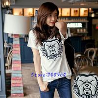 New Design Short Sleeve T-shirt Animal Bulldog Cotton Tees S M L 8025