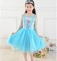 In stock at May 20,Baby girls dress kids children long veil sleeve FROZEN Elsa ice girl dresses 0504 sylvia 38835740252