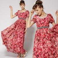 High Quality! Novelty Dresses For Women New Fashion 2014 Rose Printed Diamonds Short-sleeve Beautiful Cute Holidays Dress  8530#