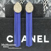 3 full rhinestone drop tassel drop earring fashion female earrings accessories