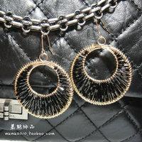 3 accessories Bohemia circle black beaded female drop earring fashion big fashion earrings