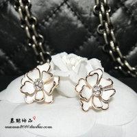 3 black white glaze flower stud earring fashion vintage earrings female
