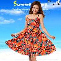 New Summer Bohemia Women's Sleeveless Print Slash Neck Dresses Chiffon Ruffles Beach Spaghetti Strap Dresses Plus Size S-4XL