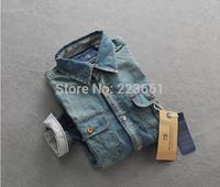 2014 new arrival brand men casual shirts fashion design denim shirts short sleeve men's jeans shirts for male plus size slim fit