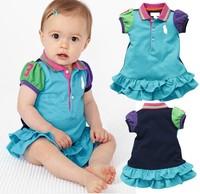 Baby girls dress kids children short sleeve lapel girl dresses 0217 sylvia tt