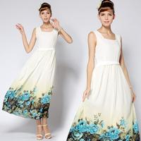2014 Free Shipping Wholesale New Fashion Positioning Flower Printed Twist Waist  Slim Holidays Women's Dress 8518#