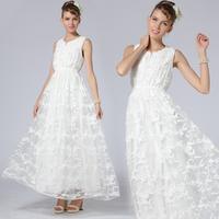 Chinese Style High Fashion Brand Women's Dress Handmade Hook Button Embroidered Tank Dress Slim Waist Hook Lace Collar 86025#