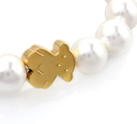 2014 Top Selling Gold Stainless Steel Lucky teddy Bear shell Beaded Bracelet Lady Jewelry
