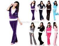 2014 New Fashion Cheap Women Clothing Velvet Sports Suit Leisure Sports Hoodies Set Cardigans + Pants Twinset Sportswear 8 color