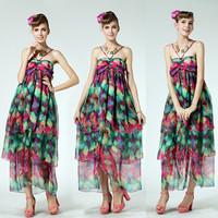 2015 New Arrival Casual Holidays Beach Dress Summer Tencel  Elegant Halter-neck Multi-colored Fish Tail Women's Dress 8901#
