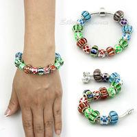 Fast Shipping European Style 925 Silver Charm Bracelets With Murano Glass Beads Handmade Fashion jewellery PA1171