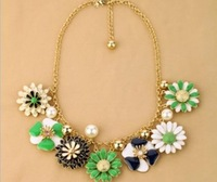 2014 Fashion Brand Shourouk Flower Statement Luxury Big Necklaces & Pendants Chunky Sweater Colar Chain Steampunk Bijoux Jewelry