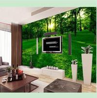 3D stereoscopic TV wall murals living room sofa background wallpaper natural landscape of green forest sunlight