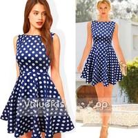 Polka Dot Dress Blue Garment New 2014 Summer Spring Casual Clothing Women Sleeveless Elegant Party Vintage Retro Dresses XXL 805