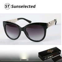 Free dropshipping 2014 Women's Vintage Sunglasses Cat eye Shape w/ Bold Metallic Temples Fashion Statement This Season sg205