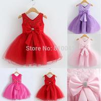 2014 High Quality Bridal Flower Girl Dress party evening Children's V neck  New Design  princess 3-8 Year Old