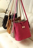 Free Shipping Hot Item 2014 Summer New Fashion Lady Women Nubuck Leather Bucket Bag Handbag Hand Bag Shoulder Bag
