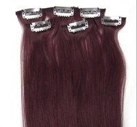 "5sets x 20"" Remy Clip in Human Hair 6pcs Silky straight  #Bug 36g/set"