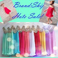 2014 summer girl's fashion gold collar pleated chiffon kid dress 3~11age teenage children's apparel free shipping retail
