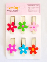Free shipping 35mm six colors flower  photos wedding mini clip Wooden Clip Pegs Kids Crafts Party Favor Supply 120pcs/lot