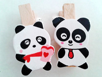 Free shipping 35mm bear animal photos wedding mini clip Wooden Clip Pegs Kids Crafts Party Favor Supply 120pcs/lot