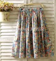 2 colours-- Vintage full flowers print floral A-line cotton long skirt saia   forest mori girl skirt