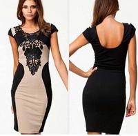 11.11 S M L XL Bandage Dress 2014 New Arrival Women Elegant Embroidery Bodycon Dresses New Fashion Patchwork Autumn Casua