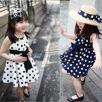 clearance sale shij014 polka dots 2014 summer princess girl's fashion dress navy/white 3~11age teenage child clothes