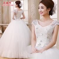 Yarn 2014 spring wedding dress sweet double-shoulder wedding lace flower wedding dress wedding qi