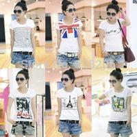 2014 New! Spring and summer new Korean cotton t-shirt, loose white short-sleeved t-shirt female short-sleeve shirt bottoming