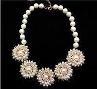 2014 Fashion Brand Shourouk Flower Statement Luxury Big Necklaces & Pendants Chunky Sweater Colar Chain Steampunk Bijoux Jewelry