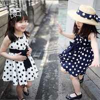 clearance sale together girls apparel 3~11age princess polka dots print girl dress  children's apparel