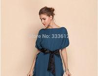 Womens Chiffon OL Lace Short Sleeves Mini Dress Back Hollow  Dress