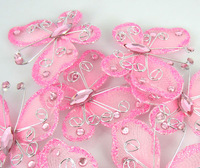 Free Shipping 50Pcs Pink Organza Wire Rhinestone Butterfly Wedding Decorations For Scrapbook