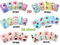 2014 brand new 36 sheet x 3D Design cute cartoon monster hybrid DIY nail stickers, decals stickers Japan slim simulation