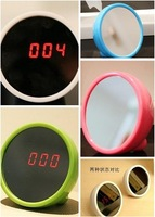 M14/8*8*4.5cm small LED special Magic Mirror alarm clock with time-date display Table Clock