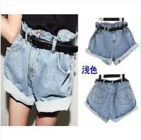 Belt free XS-XL 2014 summer boyfriend style women oversize high waist denim shorts big Baggy Rolled-up Denim Jean Shorts