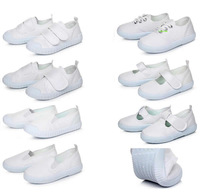 Children velcro boys and girls white cloth shoes lace footwear white the lace-up canvas shoes dancing of shoes student sneakers