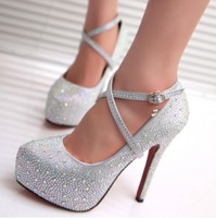 New Fashion 2013 Women's Silver Rhinestone Prom Pumps High Heel Crystal Brand Glitter Sparkly Platforms Silver Red Bottom 14cm