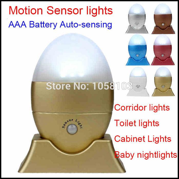[RedStar]3PCS/LOT Mini LED motion sensor lights AAA battery auto-body sensor toilet/corridor/drawer/camping/door/kids light(China (Mainland))