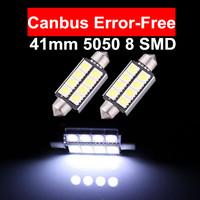 2pcs Xenon White 41mm 5050 8 SMD LED Canbus Error Free Car Dome Festoon Interior Light Lamp Bulbs 211-2 578 Cargo Car Led Lights