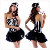 Eudora Brand 2014 New Fashion Steampunk Gothic Clothing Erotic Sexy Nurse Cosplay Costumes Bandage Waist Training Black Corset