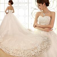 2013 luxury rhinestone princess bandage wedding dress white train wedding dress Freeshipping