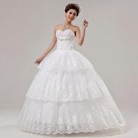 2014 new arrival wedding dress high quality sweet princess tube top bride dress Freeshipping